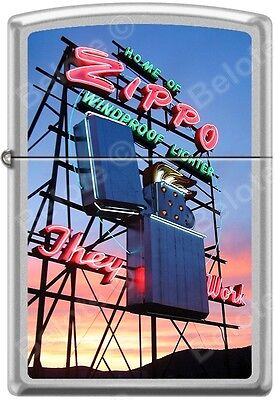 Zippo Home Of Zippo Neon Sign Bradford PA Satin Chrome WindProof Lighter NEW