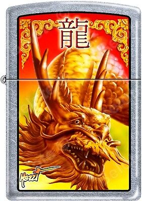Zippo Claudio Mazzi designed Golden Dragon Street Chrome Lighter NEW Rare