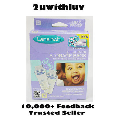 Lansinoh Pre-Sterilized Breast Milk Storage Bags 50 Packs *fast Post*