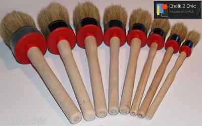 #BR8 CHALK bsd PAINT WAXING pure bristle SHABBY CHIC SET 8 round QUALITY BRUSHES