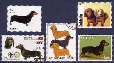 Dachshund Dogs 5 different stamps DACH37