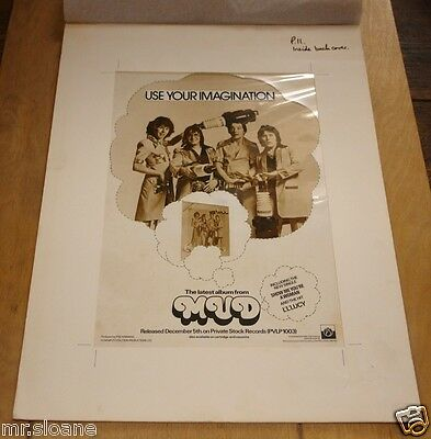 Mud Original Use Your Imagination Lp Advertising Artwork For Xmas 1975 Programme