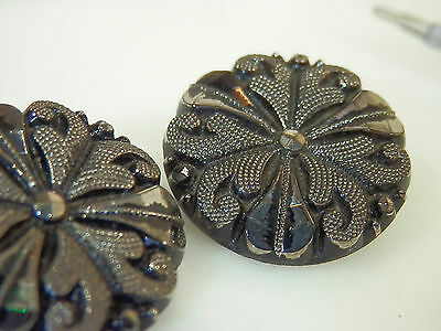 2 Vintage black Glass Le Chic Signed Buttons, Pretty  1222J5