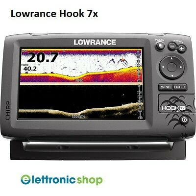 Lowrance Hook 7X Chirp + Trasduttore 83/200 455/800Khz Con Down Scan Image !