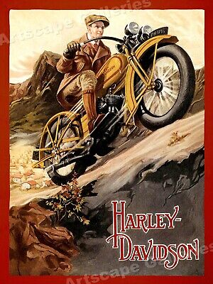 Harley Davidson Vintage Style 1920s Motorcycle Cruising Poster - 20x28