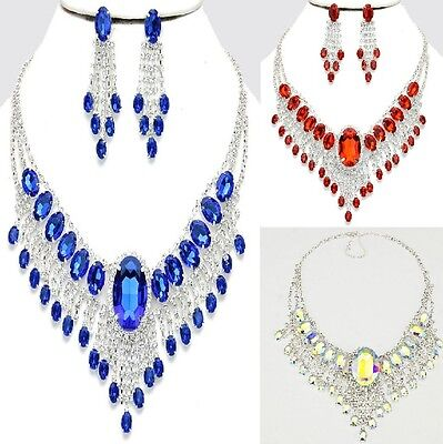 Wedding Evening Clear Bridal Crystal Chandelier Earrings Rhinestone Bib Necklace