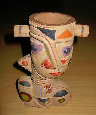 "Mid Century Modern Cubist Cubism Abstract Studio Art Pottery 7 1/4"" Head Vase"
