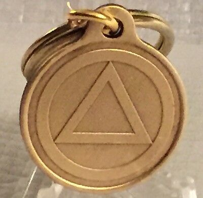 Circle Triangle Alcoholics Anonymous Bronze Key Chain AA Keychain Serenity 1""