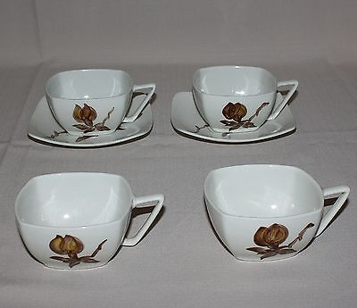 Orchard Ware Magnolia 4 Coffee Cups & 2 Saucers Brown Flower Square California