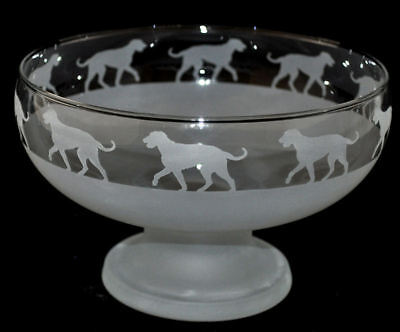 *IRISH WOLFHOUND DOG GIFT* FOOTED GLASS BOWL ~ Frosted BORDER