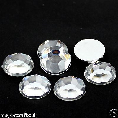 30pcs Crystal Clear 20mm Large Flat Back Thick Taiwan Acrylic Rhinestones Gems