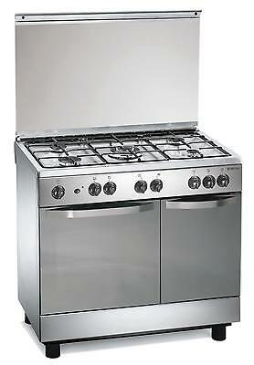 Gas cooker 90x60x85 cm stainless steel 5 burners electric oven Regal RC7965EX UK