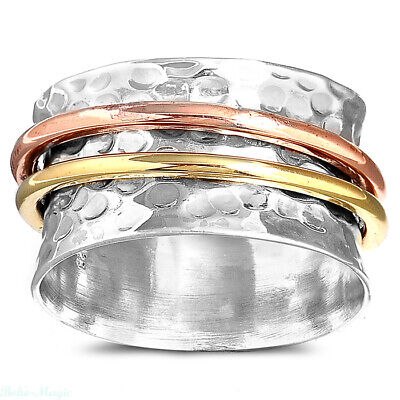 Hammered Solid 925 Sterling Silver Spinner Ring 3 Tone Wide Band Men's Women's