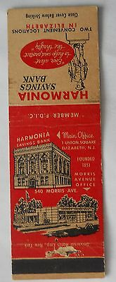 Harmonia Savings Bank Elizabeth NJ Union County Matchcover 012815