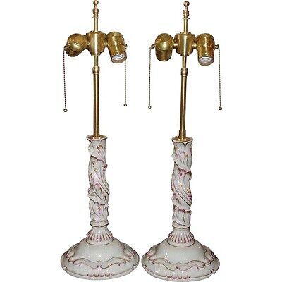 Pair of Unusual Herend Pink Hungarian Porcelain Candlestick Lamps