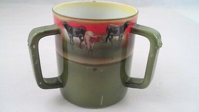 Royal Bayreuth 3 Handled Loving Cup - Cattle Cows at Pasture Nice Pastoral Scene