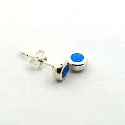 Tiny 925 Silver Blue-Green Fire Opal Studs Earrings Pair~Wicca~Pagan Jewellery