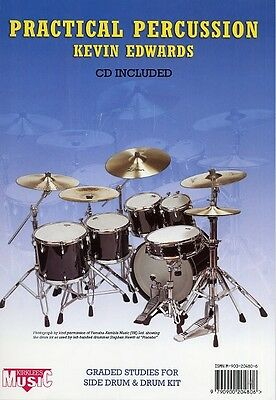 Practical Percussion (Kevin Edwards) Drum Sheet Music Book + CD. Learn Drumming