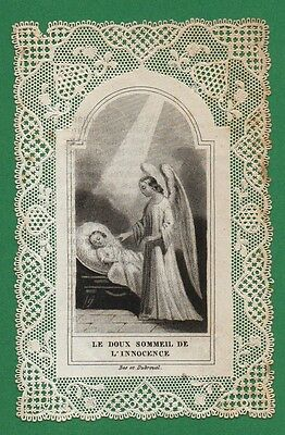 GUARDIAN ANGEL & CHILD SLEEPING Antiq 19th Cent, LACE HOLY CARD