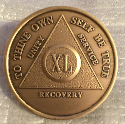 Alcoholics Anonymous 47 Year Recovery Coin Chip Medallion Medal Token AA Bronze