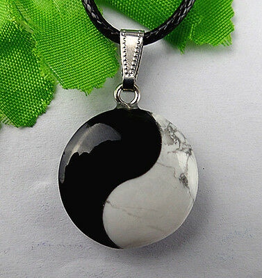 Unique black agate White Howlite Yin and Yang tai chi pendant bead BC616
