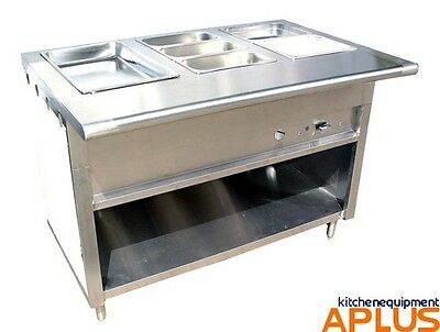 "L&J 48"" Gas Steam Table 3 Pans 1 Burner 20,000 BTU Stainless Model CWS-48"