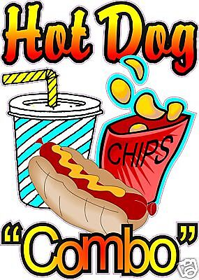 Hot Dog Combo Restaurant Concession Food Truck Cart Stand Vinyl Sign Decal 24""