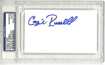 Cazzie Russell SIGNED 3x5 Index Card Golden State Warriors PSA/DNA AUTOGRAPHED