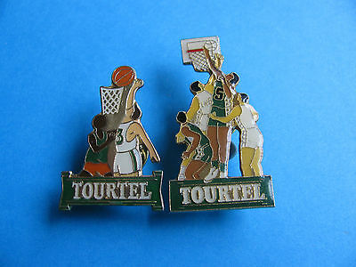 2, Tourtel Beer pin badges. VGC. Enamel. Basketball.