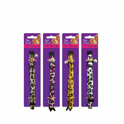 Soft Touch Leopard Print Cat & Kitten Collar with Bell by World of Pets