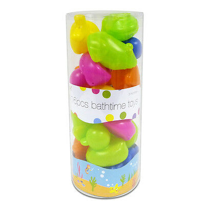 """""""First Steps""""16 Piece Fun Bath Time Toy Set Baby Kids Toddler Floating Colourful"""