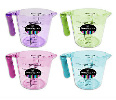 Measuring Jug 1 Litre Plastic Grip Handle In Pink Green Purple or Blue