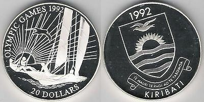 Kiribati 20 dollars Olympic Sailing Boat Proof 1992 Ag