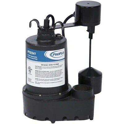 ProFlo PF92341 - 3/10 HP Cast Iron Submersible Sump Pump w/ Vertical Float Sw...