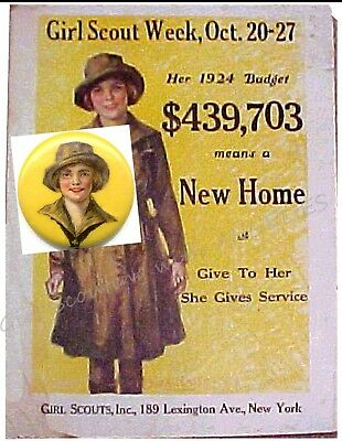 Khaki Girl Scout on Hoag PIN Button 1924 + PHOTO of Poster, Display Leader GIFT