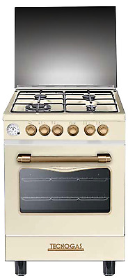 Gas cooker 60x60 cm, 4 burners, electric oven - Tecnogas Panorama D664MCR