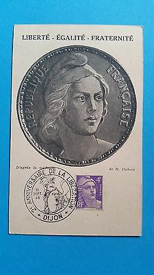 France Carte Maximum Yvert 718 Marianne Gandon 4F Dijon 1946 L 363