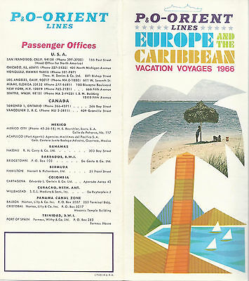 P&O Orient Lines 1966  Cruise Brochure Europe & the Caribbean Vacation Voyages