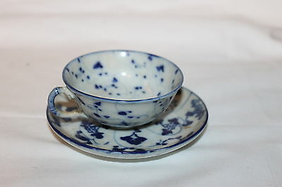 VINTAGE DEMITASSE OLD FLOW BLUE CUP AND SAUCER