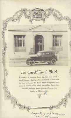 1923 One Millionth Buick Full Line Brochure Poster wu8148