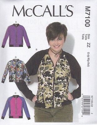 McCALL'S SEWING PATTERN MISSES' UNLINED JACKETS SIZES  XSM - XXL  M7100