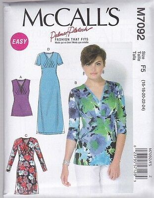 McCALL'S SEWING PATTERN MISSES' TOPS & DRESSES SIZES  8 - 24 M7092