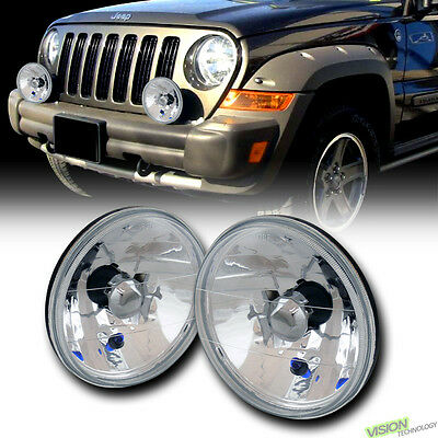 "7"" Round Crystal Chrome Glass Lens Headlights Headlamps H4 H6014 H6015 H6024 Vc3"