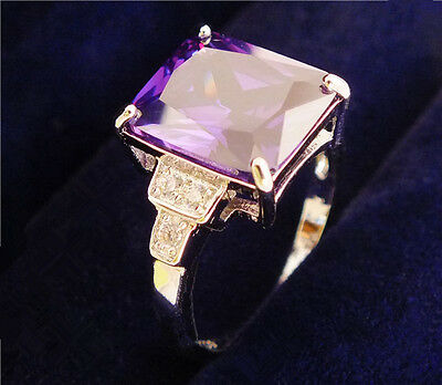 New 1pc Sterling Silver Purple Fashion Gemstone Ring Size 9