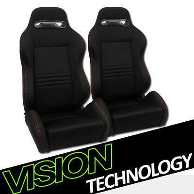 T-R Blk Cloth Fabric Red Stitch Reclinable Racing Bucket Seats w/Sliders L+R V12