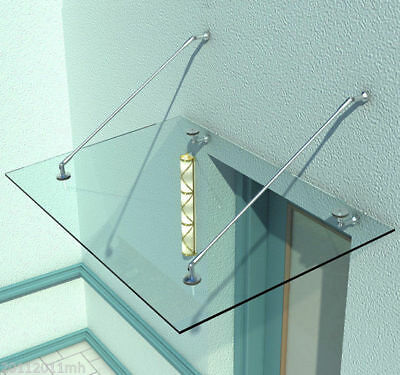 """59""""Homcom Laminated Glass Door Window Awnings Canopy Stainless Support Mount Kit"""