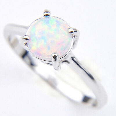 925 Vintage Sterling Silver Plated Rose pink White Fire Opal Gems Rings Sz 7 8 9
