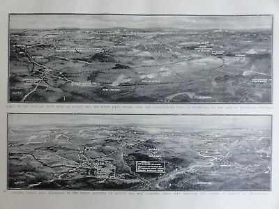 WW1 RETREAT AT MONS & FOREST OF MORMAL AUGUST 1914 The Great War Original Print