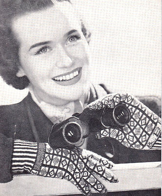 Rare Knitting Pattern for Ladies Sanquhar  Gloves with Initials on The Cuff