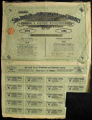 Brazil Brasilien Sao Jose Diamonds and Carbons 1903 with coupons  Diamanten